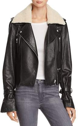 Paige Rhoda Shearlng-Collar Leather Motorcycle Jacket