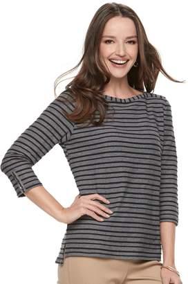 Croft & Barrow Women's Striped Button Sleeve Tee
