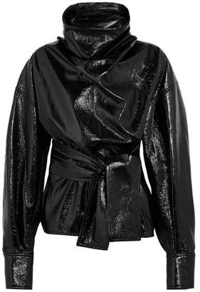 Wanda Nylon - Belted Textured-vinyl Funnelneck Blouse - Black