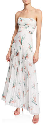 Fame & Partners Floral-Print Strapless Pleated Maxi Dress
