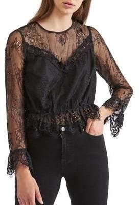 Miss Selfridge Illusion Lace Crochet Blouse