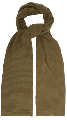 Allude Knitted Cashmere Scarf - Womens - Khaki
