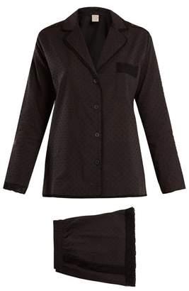 Cara Morpho + Luna Cotton Plumetis Pyjama Set - Womens - Black