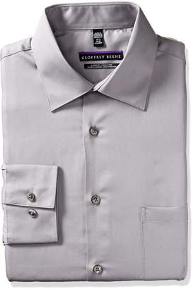 Geoffrey Beene Geoffery Beene Men's Long Sleeve Regular Fit Wrinkle Free Dress Shirt, Greystone, 17.0 34/35