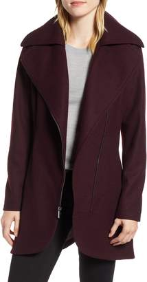 Halogen Asymmetrical Zip Wool Blend Coat