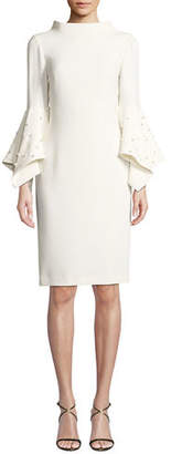 Badgley Mischka Pearly Bell-Sleeve Sheath Dress