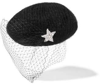 Jennifer Behr Embellished Veiled Mohair-blend Beret - Black