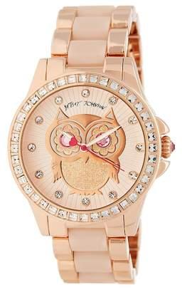 Betsey Johnson Women's Owl Crystal Bracelet Watch, 40mm