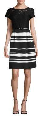 Ellen Tracy Short Sleeve Striped and Lace Fit-and-Flare Dress