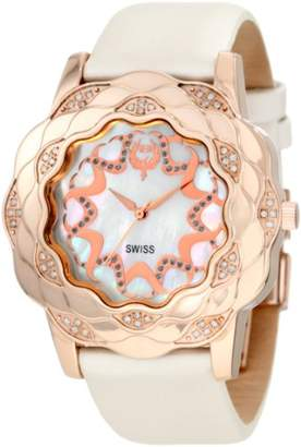 Brillier Women's 'La Fleur' Swiss Quartz Stainless Steel and Leather Dress Watch