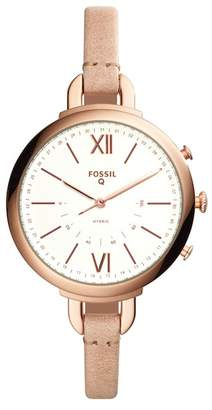 Fossil Q Annette Hybrid Smart Leather Strap Watch, 38mm