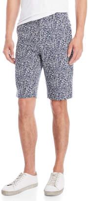 Le Mont St Michel Navy & White Jacquard Shorts