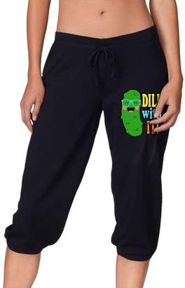 Okbo-7 Womens Dill With It Pickle Cropped Trousers,YOGA Running Capris Pants Sport Sweatpants