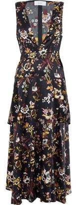 A.L.C. Verena Cutout Floral-Print Stretch-Silk Satin Midi Dress