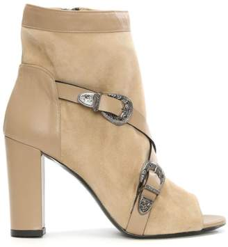 Brunate Allyn Eva Beige Leather & Suede Peep Toe Ankle Boot