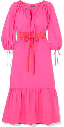 MDS Stripes - Garden Belted Cotton-poplin Dress - Bright pink