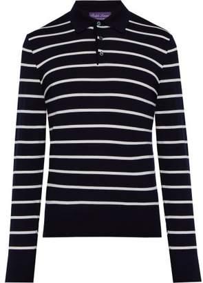 Ralph Lauren Purple Label Striped Wool Polo Sweater - Mens - Navy White