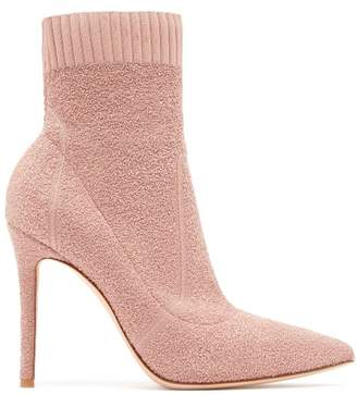 Gianvito Rossi Fiona 100 Boucle Knit Sock Boots - Womens - Nude