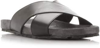 Dune MENS IDRIS - Suede Footbed Crossover Strap Sandal