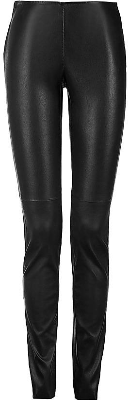 VENTCOUVERT Black Leather Stretch-Leggings