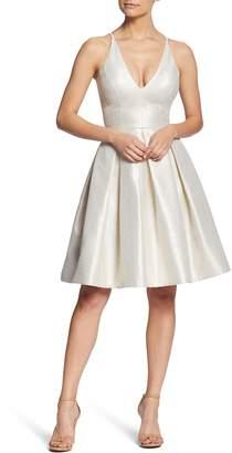 Dress the Population Collette Plunge Neck Fit & Flare Dress