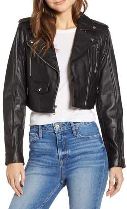 Sam Edelman Crop Leather Moto Jacket