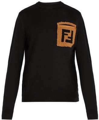 Fendi - Ff Shearling Pocket Wool Sweater - Mens - Black