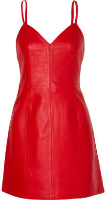 ALEXACHUNG Leather Mini Dress - Red
