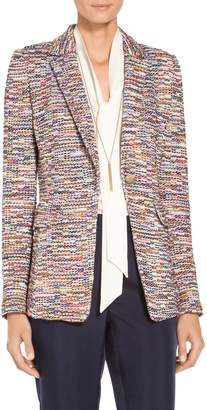 St. John Vertical Fringe Multi Tweed Knit Jacket