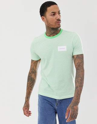 Calvin Klein box logo stripe crew neck t-shirt in green