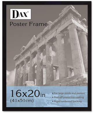 clear DAX MANUFACTURING INC. Flat Face Wood Poster Frame with plastic window, 16 x 20, Black