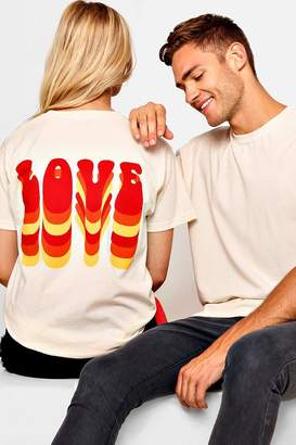 boohoo Pride Loose Fit Love Bubble Text T-Shirt