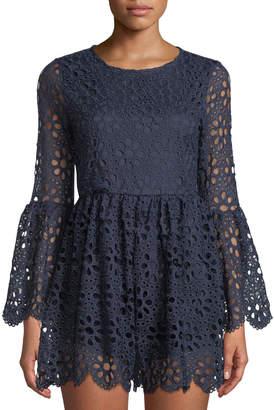 Free Generation Daisy Crochet Bell-Sleeve Romper
