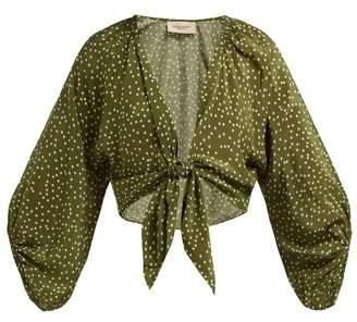 Adriana Degreas Mille Punti Polka Dot Silk Blouse - Womens - Green White