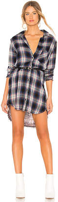 Bella Dahl Asher Plaid Fray Pocket Shirt Dress