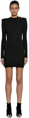 Balmain Wool Rib Knit Dress W/ Buttons