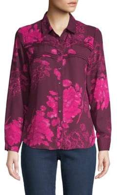 Long-Sleeve Printed Crepe Shirt