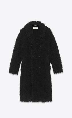 Saint Laurent Coat In Black Curly Fake Fur