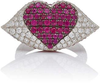 Ofira Large White Diamond & Ruby Kiss Me Ring