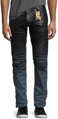 Robin's Jeans Dip-Dye Coated Skinny Moto Jeans, Black/Blue