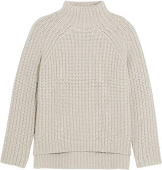 Theory - Ribbed Wool-blend Turtleneck Sweater - Light gray $495 thestylecure.com