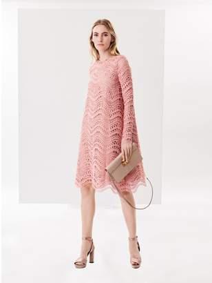 Oscar de la Renta Wave Guipure Lace Cocoon Cocktail Dress