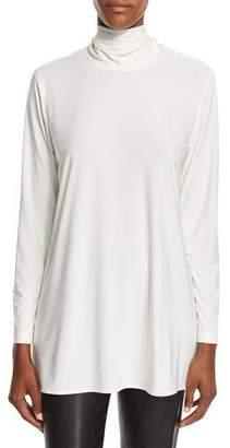 Caroline Rose Mock-Neck Back-Zip Knit Tunic, Off White