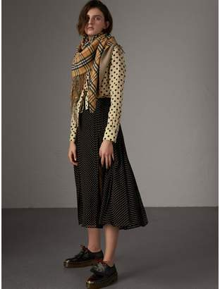 Burberry Pintuck Detail Dot Print Silk Skirt