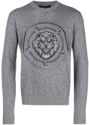 Billionaire embroidered lion jumper