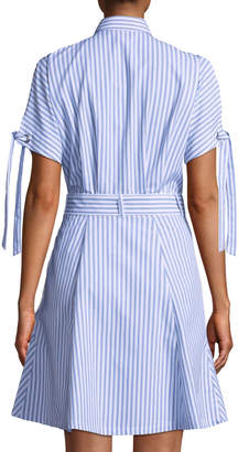 1afcd3a770b ... Neiman Marcus Striped Cold-Shoulder Shirtdress
