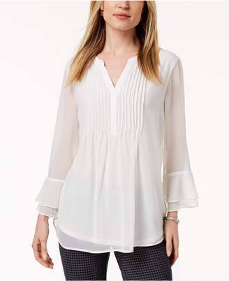 Charter Club Pleated Sheer Blouse