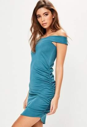 Missguided Bardot Ruched Side Asymmetric Bodycon Dress