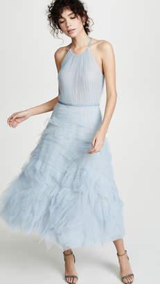 Marchesa Textured Tulle Tea Length Gown