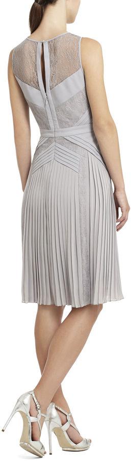 BCBGMAXAZRIA Raya Sleeveless Pleated Lace Dress